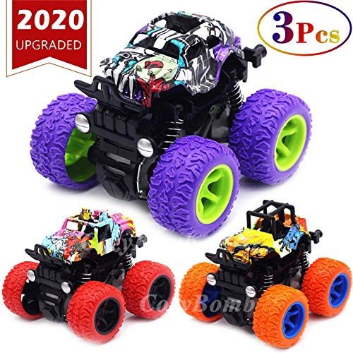 Monster Trucks Toys for Boys - Friction Powered 3-Pack Mini Push and Go Car Truck Jam Playset for Boys Girls Toddler Aged 3 4 5 Year Old Gifts for Kids Birthday (Purple, Red, Orange, 3-Pack)
