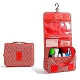 Marosoniy Hanging Toiletry Bag-Travel Personal Organizer Cosmetic Make up Bag for Women Men (Red Star)