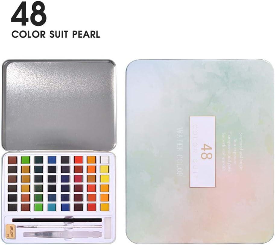 Alician 36/48 pigmento de acuarela nacarado rosa caja de hierro artista caja de metal portátil y paleta suministros artísticos acuarela, color 48 colores perla talla única