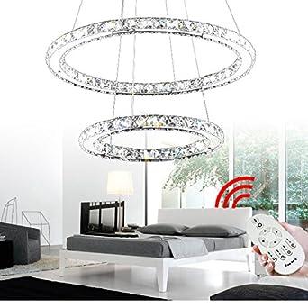 Großartig VINGO® 44W 2 Ringe LED Deckenleuchte Kreative Deckenlampe Kronleuchter  Designleuchte Dimmbar Mit Fernbedienung Kristall Design