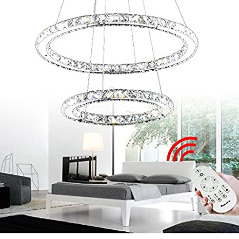 VINGO® 44W 2 anneaux Araña de cristal Crystal Lámpara suspensa Candelabro Regulable LED Lámpara colgante Lámpara de techo Dos anillos Circular moderno ...