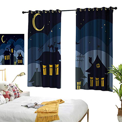 Warm Family Thermal Insulated Drapes for Kitchen/Bedroom Halloween Old Town with Cat on The Roof Night Sky Moon and Stars Houses Cartoon Art Privacy Protection 63