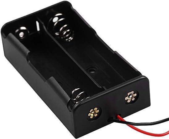 uu19ee Plástico 18650 Caja de Almacenamiento de la batería Caja 2 Ranura Manera Baterías de Bricolaje Contenedor de Clip de contenedor con Cable de Plomo: Amazon.es: Hogar