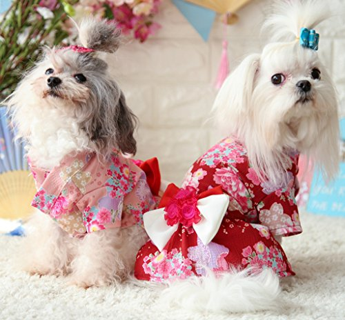 Chihuahua Pink for Small Floral Dog Pink Shih Yorkshire Dog Tzu Halloween Kimono Wiener XS Pug Japanese for Terriers Small Papillon Girl Pet Bowknot Dress Costume Dog Teddy MaruPet Brocade Extra 7OpwXqx1