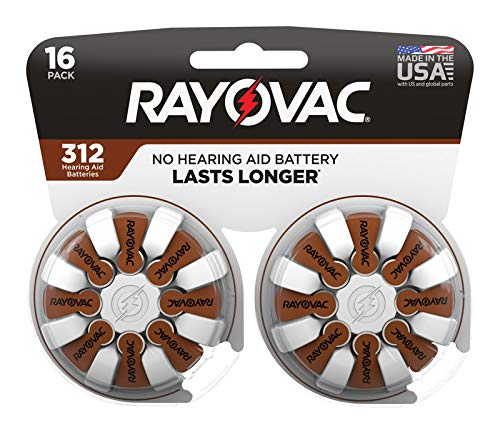 Rayovac 3537156 1.45V Zinc-Air 312 Hearing Aid Battery44; 16 per Pack - Pack of 4 by Rayovac