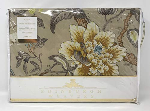 Edinburgh Weavers Blyton Vintage Jacobean Floral Garden Design 3pc Queen Duvet Cover Set 100-Percent Cotton Percale Olive Taupe Tan Mustard Yellow Blue Beige Ivory Antique Colors ()