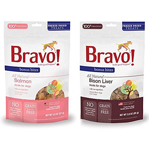 Freeze Dried Bison Treats - Bravo Bonus Bites Freeze-Dried Grain Free Dog Treats Variety Pack - Salmon and Bison Liver (2-3 Oz. Each)