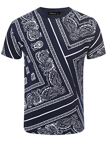 URBAN K men's Hipster Hustle Bandana Print & Faux Leather Crewneck T-Shirt