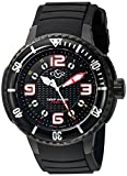GV2 by Gevril Termoclino Mens Diver Swiss Quartz Brass Dial Black Rubber Strap Watch, (Model: 8900), 1000 Meters