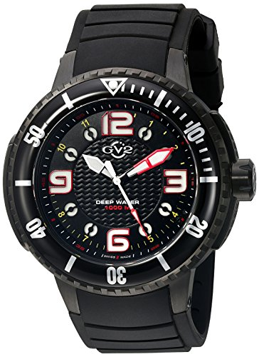 (GV2 by Gevril Termoclino Mens Diver Swiss Quartz Brass Dial Black Rubber Strap Watch, (Model: 8900), 1000 Meters)