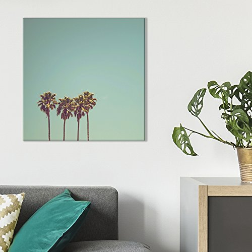 - wall26 - Square Canvas Wall Art - Retro Style Tall Palm Trees in California - Giclee Print Gallery Wrap Modern Home Decor Ready to Hang - 24x24 inches
