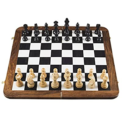 Rusticity Wood Chess Folding Board Game with 32 Pieces   Large   Handmade   24 Inch Set