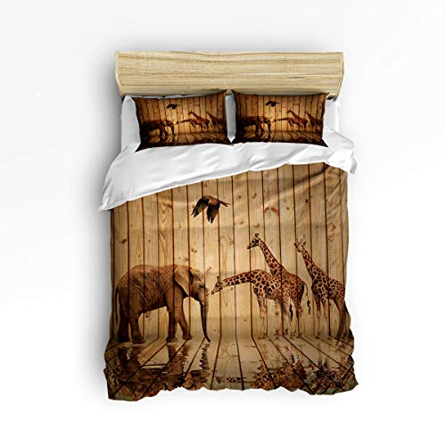 Art Elephant Deco (YEHO Art Gallery Soft Duvet Cover Set Bed Sets for Children Kids Girls Boys,Retro Giraffe Elephant Animal Pattern on The Wood Bedding Sets Home Decor,1 Comforter Cover with 2 Pillow Cases,Queen Size)