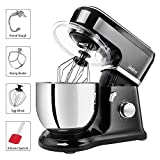 Betitay Stand Mixer, 6-Speed 4.5 QT 304 Stainless Steel Bowl Baking Mixer, Dough Kneading Machine with Splash Guard, Mixing Beater, Whisk, Dough Hook and Silicone Brush, 500W/1400W Max. (Black/Steel)