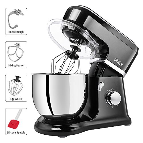 Preparation Machine - Betitay Stand Mixer, 6-Speed 4.5 QT 304 Stainless Steel Bowl Baking Mixer, Dough Kneading Machine with Splash Guard, Mixing Beater, Whisk, Dough Hook and Silicone Brush, 500W/1400W Max. (Black/Steel)