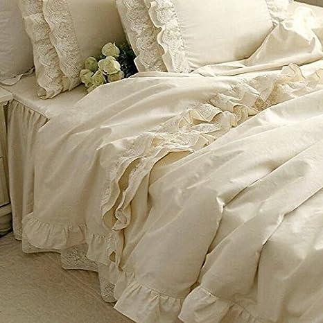 Brandream Girls Korean Ruffle Bedding Sets Romantic Ivory Duvet Covers  Queen Size 4 Piece Sheets Set