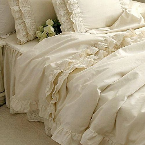 Brandream Girls Korean Ruffle Bedding Sets Romantic Ivory Duvet Covers Queen Size 4 Piece Sheets Set Luxury Satin Fabric
