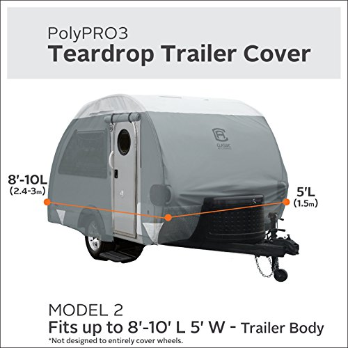 Classic-Accessories-80-297-153101-RT-GreySnow-White-Up-to-8-10-feet-Long-Arctic-Blue-Product-80-297-Teardrop-Trailer-Cover-8-10