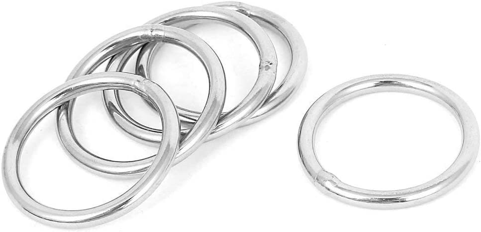 40mm x 5mm Stainless Steel Webbing Strapping Welded O Rings 5 Pcs TOOGOO R Welded Ring