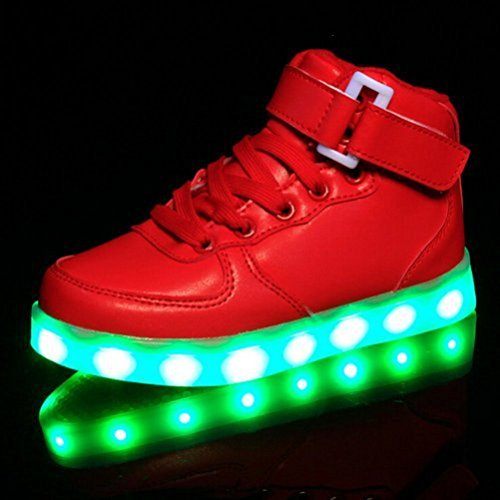 [Presente:pequeña toalla]JUNGLEST (TM) Unisex 7 Colors USB Carga LED Luz Luminosas Flash Zapatos Zapatillas de Depo c13