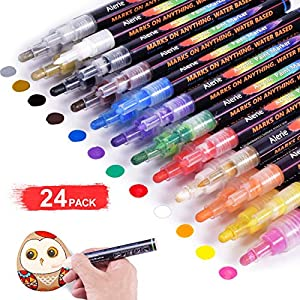 Acrylic Paint Pens – 24 Acrylic Paint Markers for Rock Painting, Stone, Metal, Ceramic, Porcelain, Glass, Wood, Fabric, Canvas, Set of 12 Colors Paint Markers with 3 Different Tip Precision