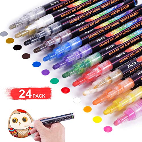 Acrylic Paint Pens - 24 Acrylic Paint Markers for Rock Painting, Stone, Metal, Ceramic, Porcelain, Glass, Wood, Fabric, Canvas, Set of 12 Colors Paint Markers