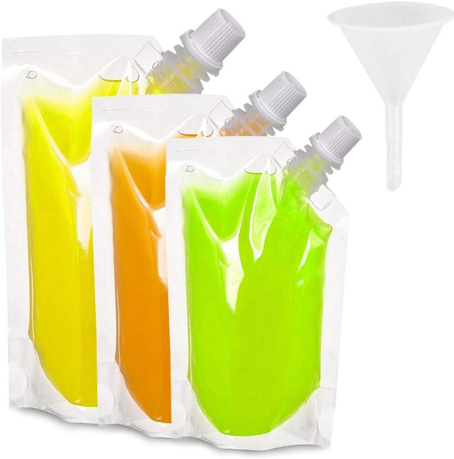 Boerni Paquete de 30 frascos de plástico para Bebidas, frascos para Bolsas de Grado alimenticio con embudos de 3 Piezas para Bebidas navideñas de ...