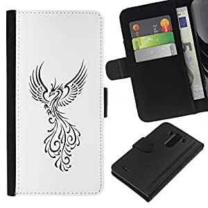 Pájaro de Fuego Decal Minimalista Blanca- la tarjeta de Crédito Slots PU Funda de cuero Monedero caso cubierta de piel Para LG G3