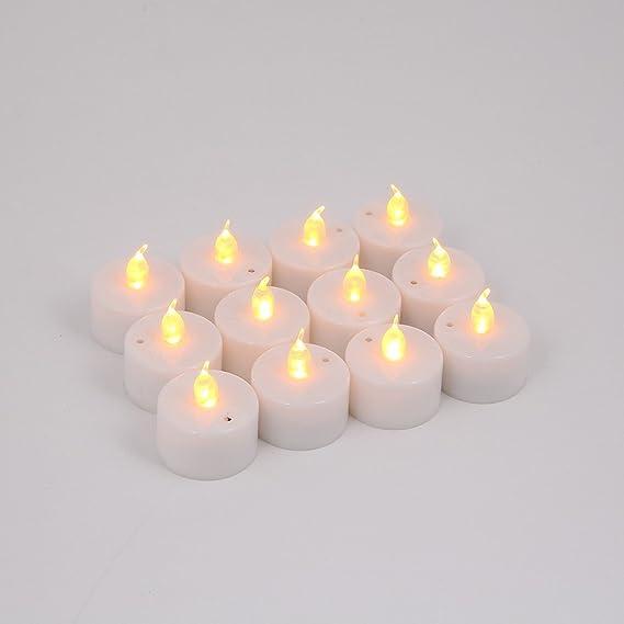 Velas de té de LED, 24 unidades, realistas y brillantes, funcionan con pilas, efecto titilante sin llama, 3,5 cm x 4,2 cm de alto, imitación de velas ...