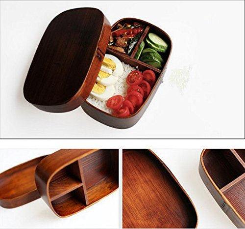 Ecloud Shop® Bento Boxes Wood Lunch Box Handmade Natural Wooden Sushi Box Tableware Bowl