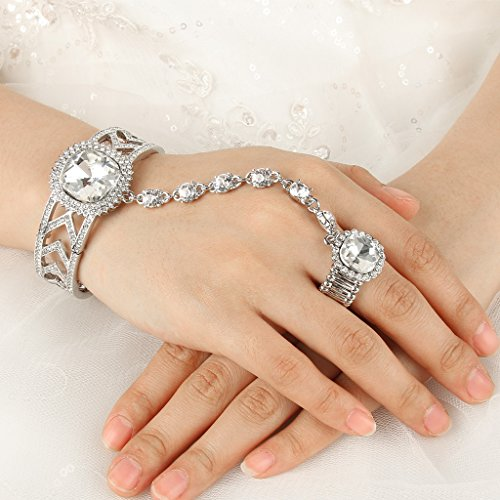 EVER FAITH Silver Tone Crystal Rhinestone 1920s Style Adjustable Ring Bracelet Set Clear