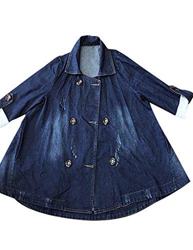 Youlee Femmes Breasted Double Tranche Manteau Irrgulier Denim Bleu Zqq6vw4