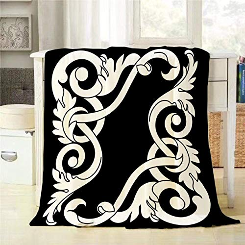 (Mugod Throw Blanket Black and White Vintage Baroque Ornament Pattern Antique Style Acanthus Decorative Soft Warm Cozy Flannel Plush Throws Blankets for Baby Toddler Dog Cat 30 X 40 Inch)