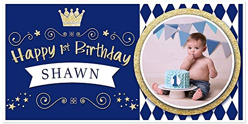 Personalized Photo Banner - Royal Blue and Gold Prince Crown Diamonds Birthday Banner Personalized Photo Party Backdrop