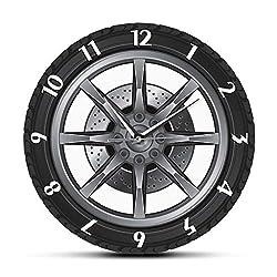 llsmting Wall Clock Stylish Modern Wall Clocks Service Repair Garage Owner Tire Wheel Custom Auto Watch Vintage Cool Mechanic Gift Ideal for Workshop Kitchen Office School Bedroom Living Home Decor