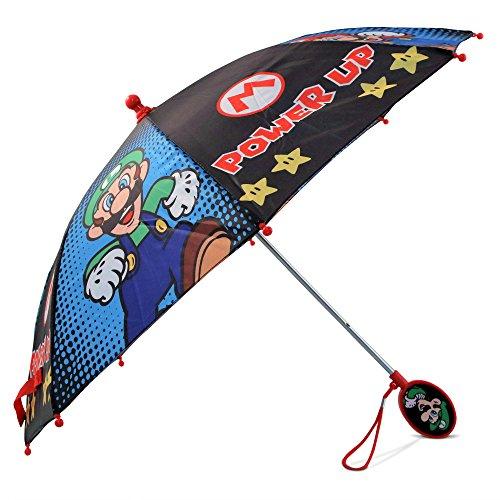 Nintendo Boys' Little Mario and Luigi Character Rainwear Umbrellas, black/Blue, Age 3-7