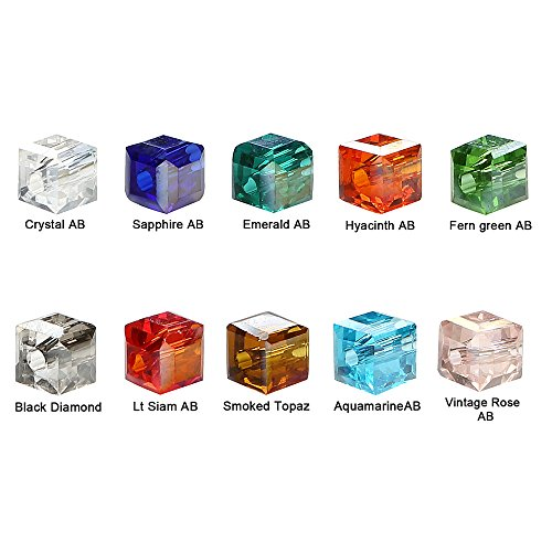 Crystal Cube Beads - BRCbeads Crystal Glass Beads Finding Spacer Charms 1000pcs Faceted #5601 Cube Shape 4mm Assorted Colors include Plastic Jewelry Container Box Wholesale Mix lot for jewelery making