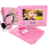 FUNAVO 7.5'' Portable DVD Player with Headphone, Carring Case, Swivel Screen, 5 Hours Rechargeable Battery, SD Card Slot and USB Port (Pink)