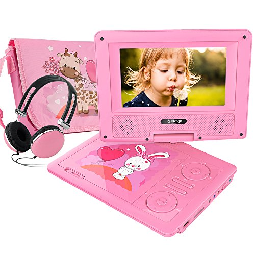 FUNAVO 7.5'' Portable DVD Player with Headphone, Carring Case, Swivel Screen, 5 Hours Rechargeable Battery, SD Card Slot and USB Port (Pink) by FUNAVO