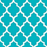 Carousel Designs Teal Hand Drawn Quatrefoil Fabric by the Yard - Organic 100% Cotton