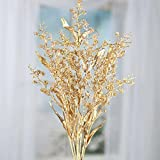 Factory Direct Craft Sparkling Gold Artificial Spike Flower and Leaf Spray for Home Decor, Accenting and Displaying