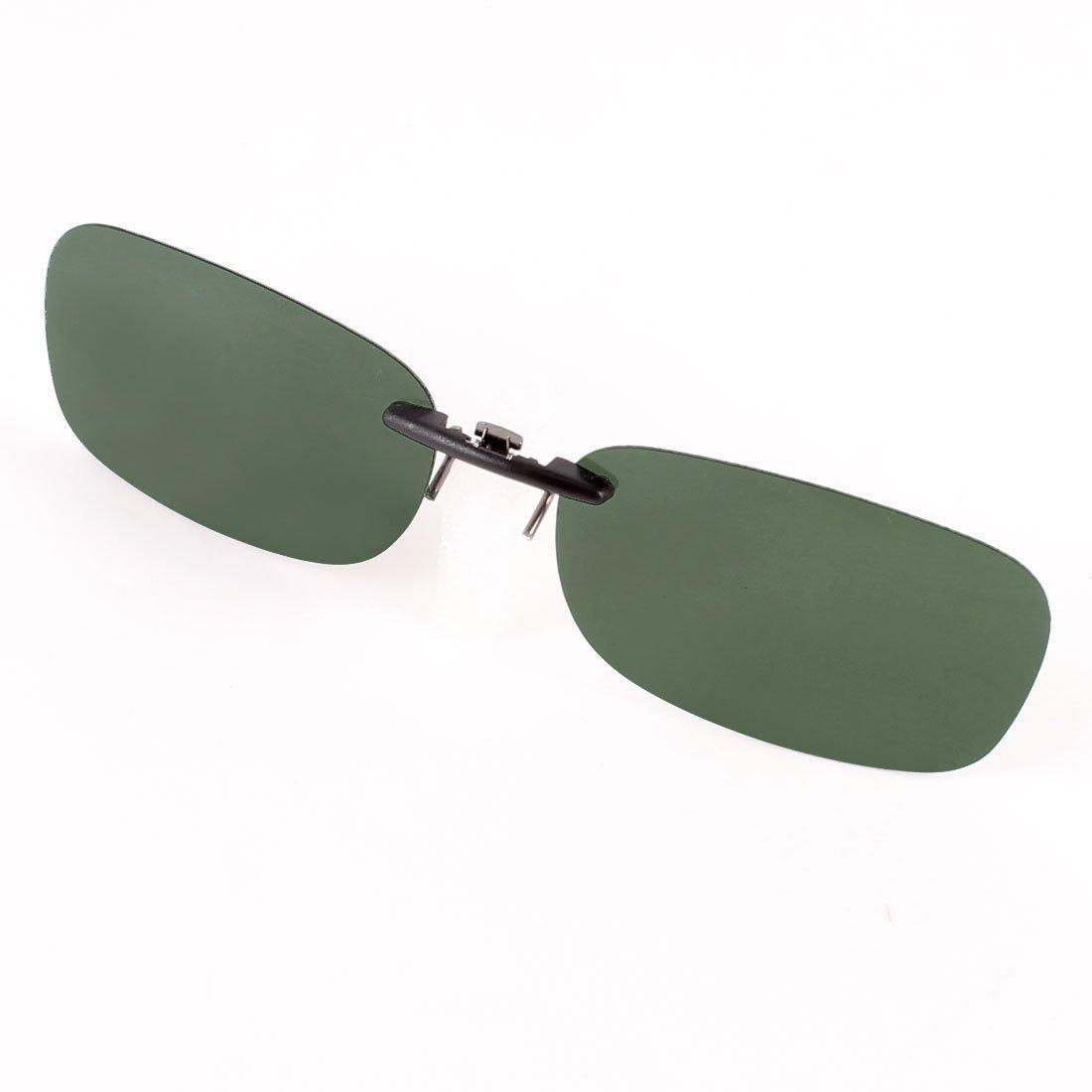 Sunshade Rectangle Rimless Dark Green Lens Clip on Polarized Sunglasses DealMux