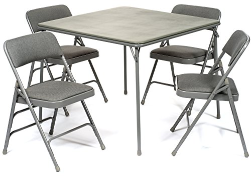 (XL Series Folding Card Table and Fabric Padded Chair Set (5pc) - Comfortable Padded Upholstery - Fold Away Design, Quick Storage and Portability - Premium Quality (Grey))