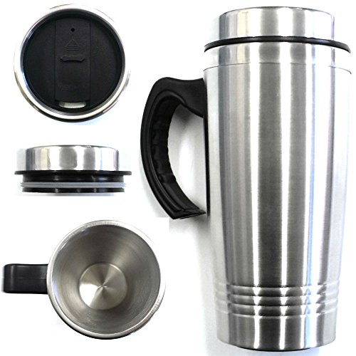 New!! 16oz Stainless Steel Insulated Travel Coffee Mug Cup Tumbler w/Handle Silver/Black #69 (White Glasses Ftp)