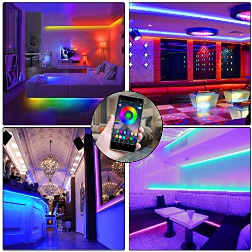 Led strip lighting fixtures 50ft RGB led lighting fixtures 5050 Led strips,Jeryyen Smart Led lighting fixtures Strip Music sync Color Changing Lights with 44keys Remote and App keep an eye on, Led Lights for Bedroom Tv Home Party Decoration