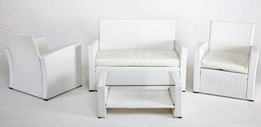 Set Gartenmöbel Rattan weiß: Sessel + Sofa + Tisch jetzt kaufen