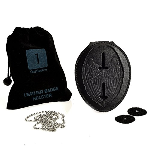 Badge Shield Holder with Leather Wrapped Heavy Duty Steel Belt Clip, Stainless Steel Necklace and Concealed Photo Pocket with Archangel Michael Wings in Thick Leather Cow Hide. LAW ENFORCEMENT ()