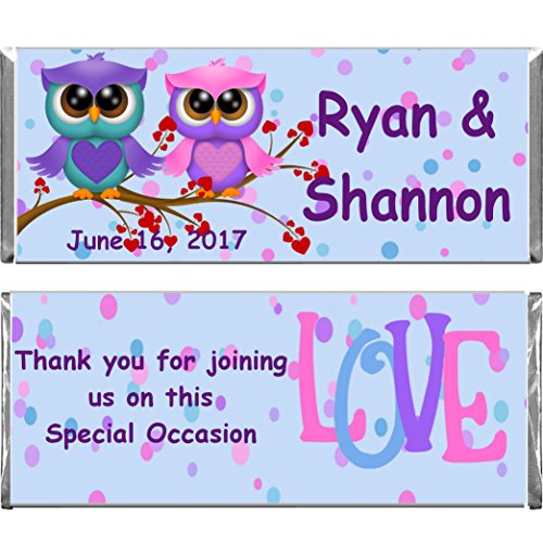 Personalized Custom Wrappers Love Owls Bridal Shower, Wedding, Anniversary Party Assembled Hershey's Chocolate Candy Bars Set of 12 (Personalized Bridal Chocolate Shower Bar)
