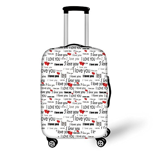 Travel Luggage Cover Suitcase Protector,Romantic,I Love You Quote with Hearts Romance Couple Valentine with Plain Backdrop,Red Black and White,for Travel by iPrint