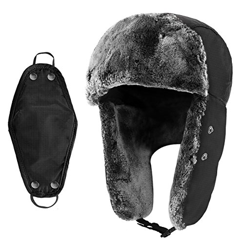 Winter Hat with Ear Flaps for Men and Women, Trapper Hat Outdoor Warm Hunting with Windproof Mask, Snow Ushanka Russian Hat
